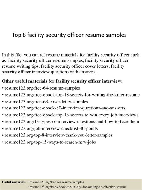 Top 8 Facility Security Officer Resume Sles