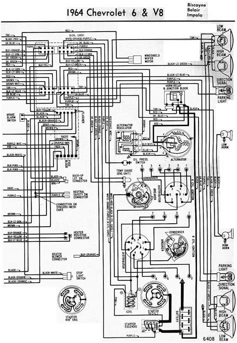 Electrical Wiring Diagram Of 1964 Chevrolet 6 And V8 | All