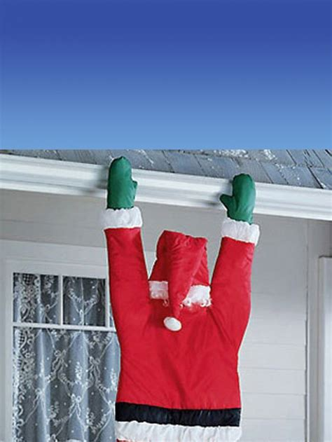 santa hanging from door guttering outdoor decoration 1