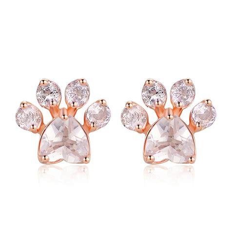 Cat Paw Earrings pink quartz cat paw earrings gemheal