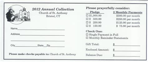 pledge card template for church building fund pledge card template 6 best