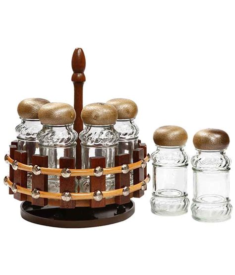 Buy Spice Rack India peachesbizarre 6 pc wooden spice rack glass bottles buy