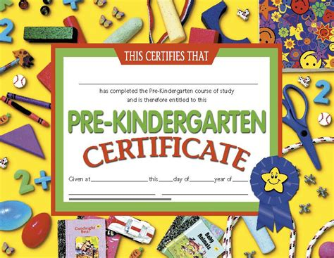 certificates pre kindergarten 30 prek 8 5 x 11 yellow h