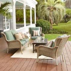 hampton bay lemon grove  piece wicker outdoor dining set
