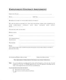 Contract Amendment Template by Sle Employment Contract Forms 11 Free Documents In