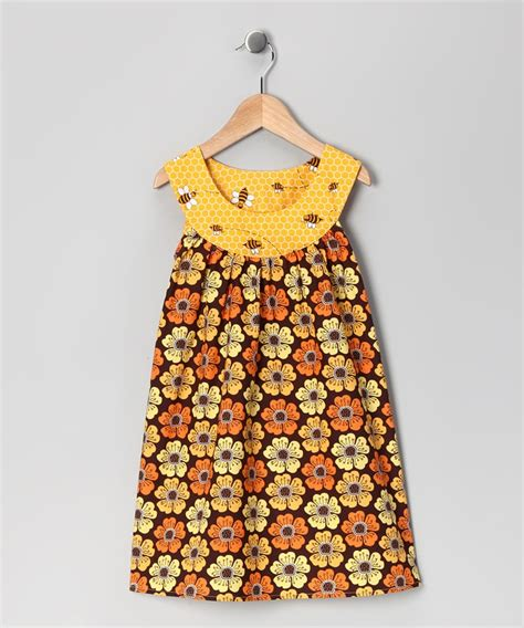 pattern yoke dress brown floral yoke dress toddler girls