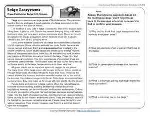 taiga ecosystems 4th grade reading comprehension worksheet