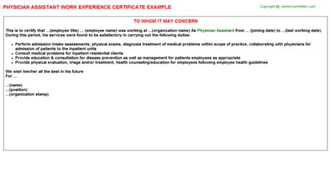 Work Experience Letter Doctors Physician Assistant Experience Letter Sle