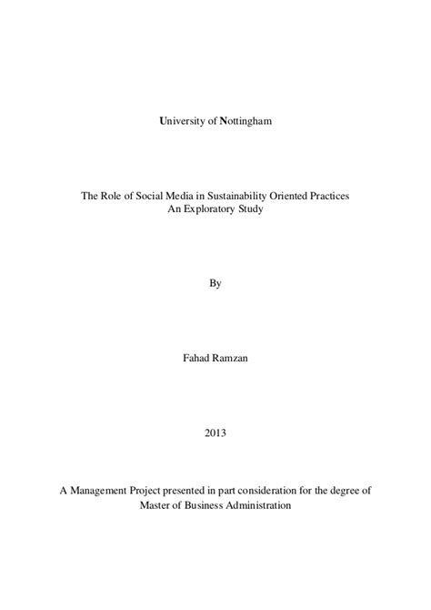 Mba Project Report On Social Media Marketing by The Of Social Media In Sustainability Oriented