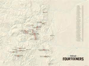 Colorado 14ers Map by 60 Colorado 14ers Map 18x24 Poster Best Maps Ever