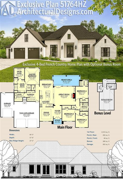 plan 51764hz exclusive 4 bed french country home plan