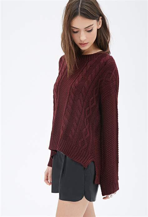 forever 21 cable knit sweater forever 21 cable knit sweater in purple lyst