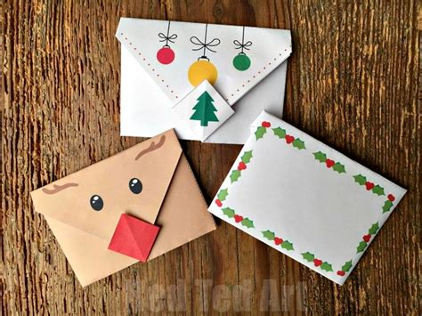 printable origami paper christmas cute origami envelope winter animals red ted art s blog