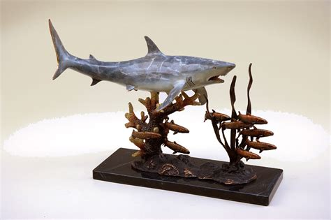 spi home decor shark with prey sculpture by spi home 385 you save 114 00