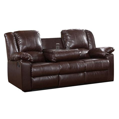 brown leather sofa modern faux reclining cup holder