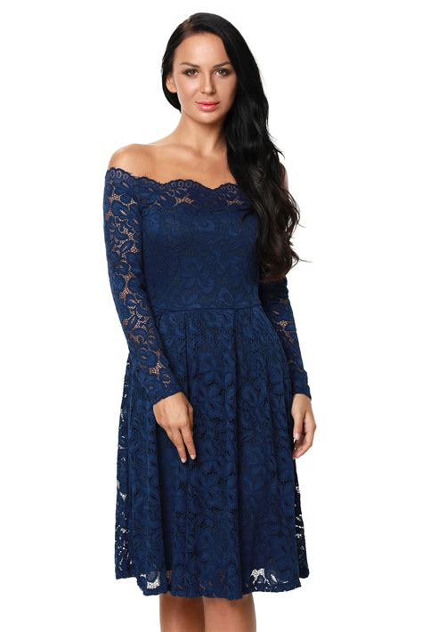 cocktail swing dress us 10 33 blue long sleeve floral lace boat neck cocktail