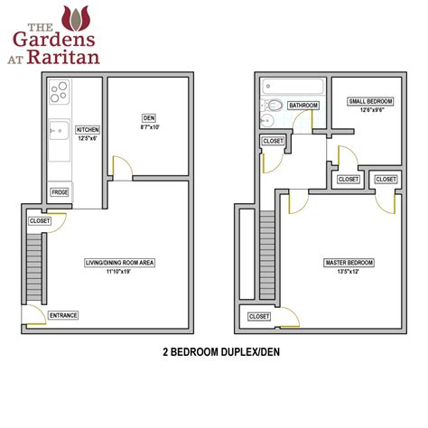 Duplex Floor Plans 2 Bedroom by The Gardens At Raritan Availability Floorplans The