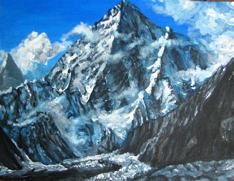Mountains View Landscape Acrylic Painting By Natalja Picugina