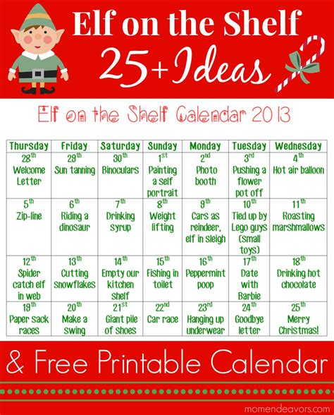 printable elf on the shelf ideas free 25 elf on the shelf ideas with printable calendar an