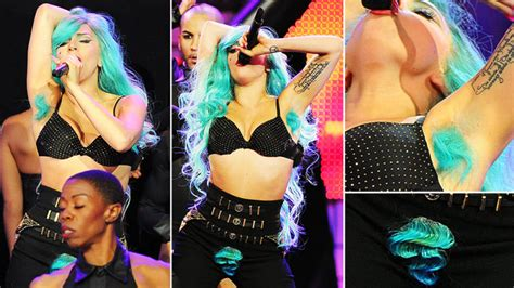 what fashionable for pubic hair lady gaga shows off turquoise pubes and armpit hair