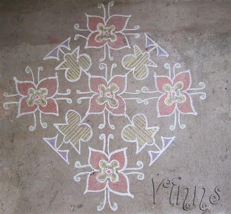 Design Flower Kolam With Dots | flower design kolam vinns kolam