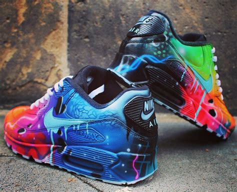customized shoes nike air max 90 blue galaxy style painted custom shoes sneaker