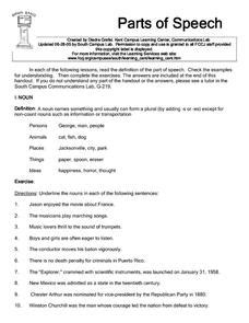parts of speech 3rd 4th grade worksheet lesson planet