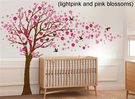 Cherry Blossom Wall Decal For Nursery Cherry Blossom Tree With Birds Wall Decal Wall Sticker Leafy Dreams Nursery Decals Removable