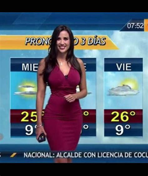weather channel girls striping on tv mexican weather girl susana almeida wearing a tight red
