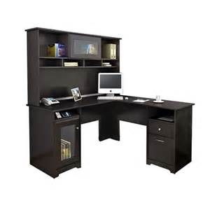 pc desk bush cabot l shaped computer desk with hutch in espresso