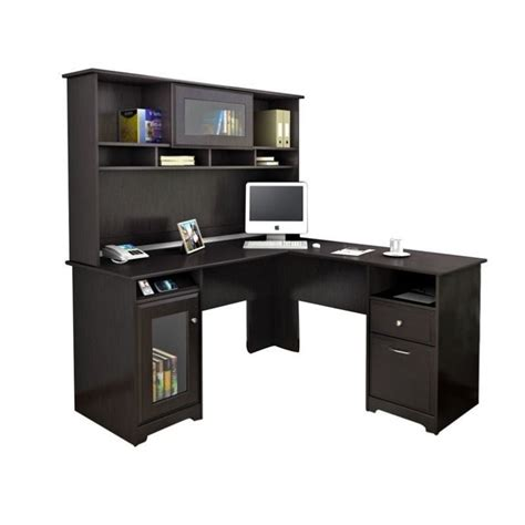 Bush Cabot L Shaped Computer Desk With Hutch In Espresso L Desks With Hutch