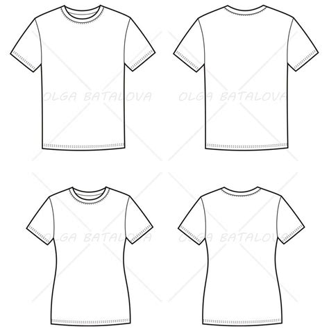 illustrator pattern templates women s and men s t shirt fashion flat templates