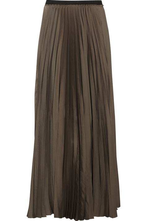 enza costa pleated satin maxi skirt in green army green