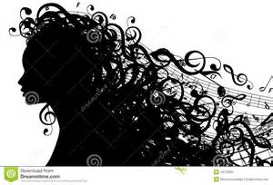 Vector silhouette of female head with musical symbols includes eps 10