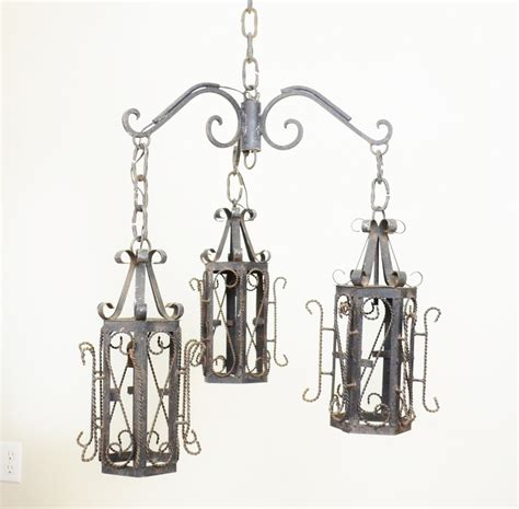 Wrought Iron Light Pendants Wrought Iron Lantern Pendant Chandelier By Luccabalesvintage