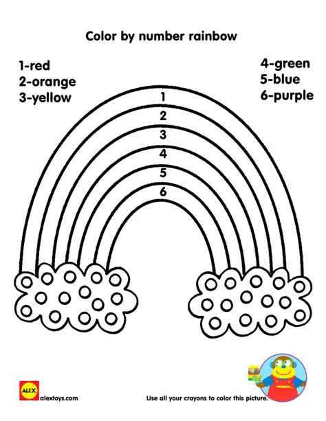 Pictures Of Rainbows To Color by Color By Number Rainbow Printable Alexbrands