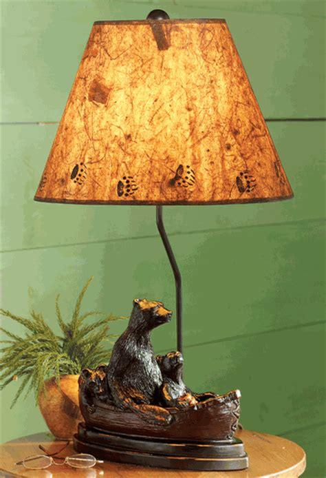 black bear family canoe lamp