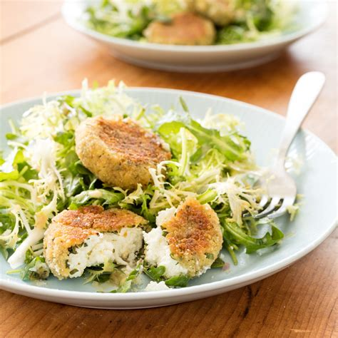 goat cheese salad salad with herbed baked goat cheese and vinaigrette