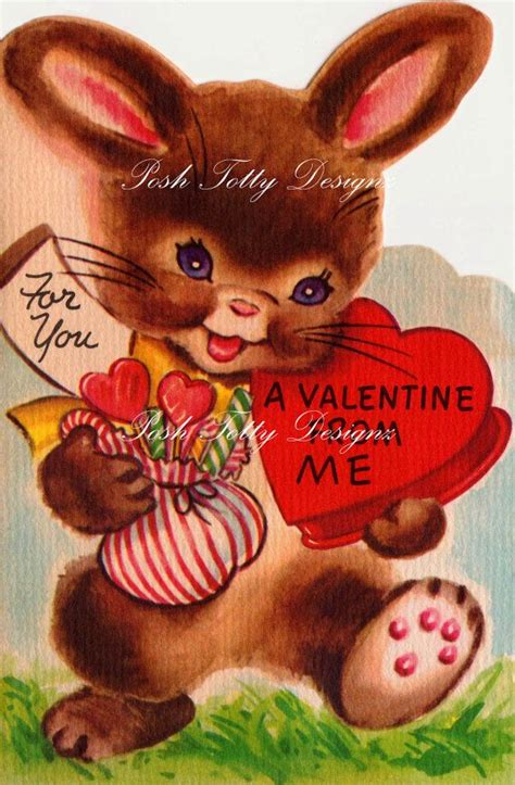 valentines day rabbit vintage bunny with a box of valentines by
