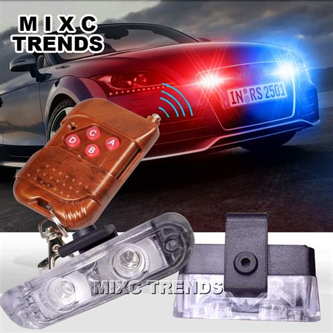 red and blue strobe 1set dc 12v 2 led wireless remote flash controller car