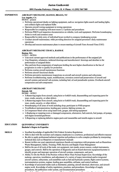 aircraft mechanic resume template aircraft mechanic resume sles velvet