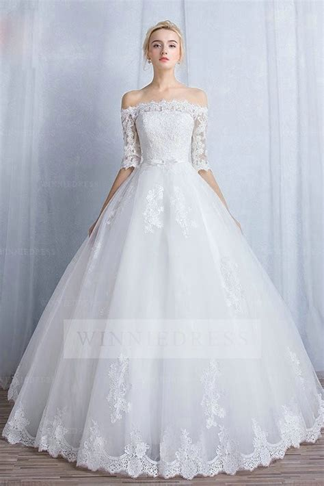 Shoulder Lace Wedding Dress shop discount charming the shoulder lace half sleeve