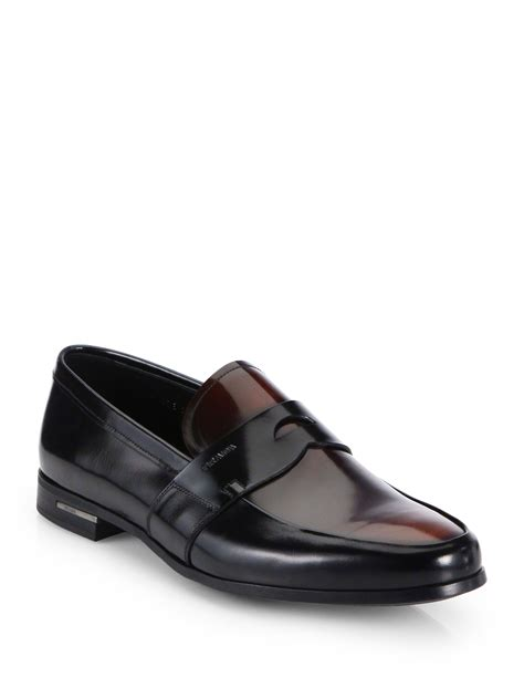 prada loafers lyst prada bicolor spazzolato loafers in black for