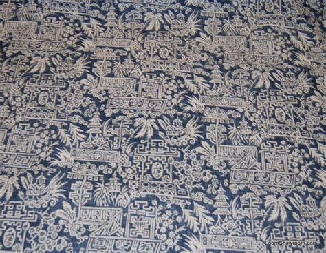 blue and white drapery fabric rl112 ralph lauren le colonial toile indigo blue and white