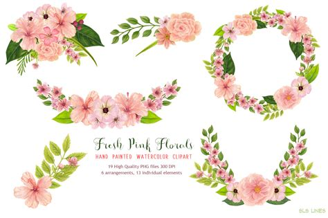 Diy Photo Frame Kits Floral Blessing Bingkai Foto Kado Fpm004 pink floral watercolors by sls lines thehungryjpeg