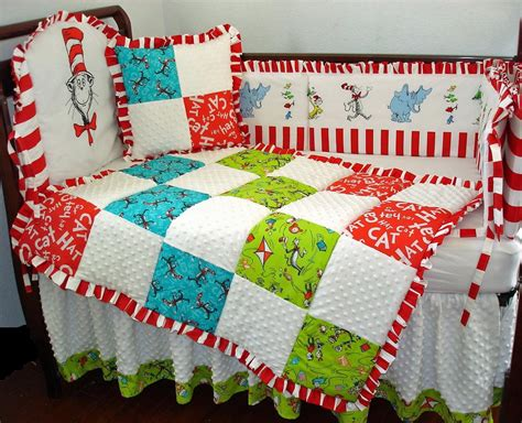dr seuss crib bedding custom nursery crib set includes blanket dust ruffle pillow