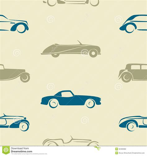 car layout vector seamless pattern with retro cars stock vector