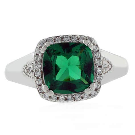 cushion cut emerald ring silverbestbuy