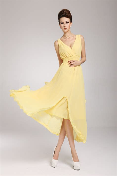 How To Copy Guccis Asymmetrical Yellow Dress For Less by Fashion V Neck Sleeveless Asymmetrical Yellow