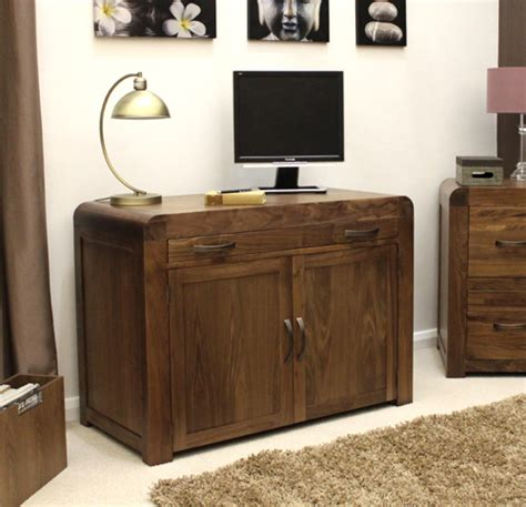 hidden office desk shiro solid walnut dark wood furniture hidden home office